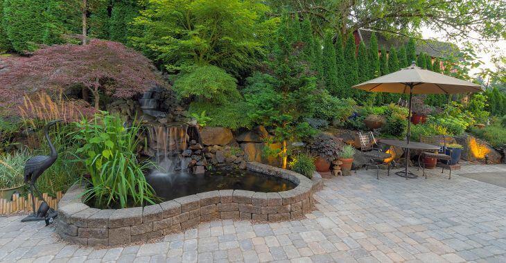 Garden hardscapes made of lava rocks.